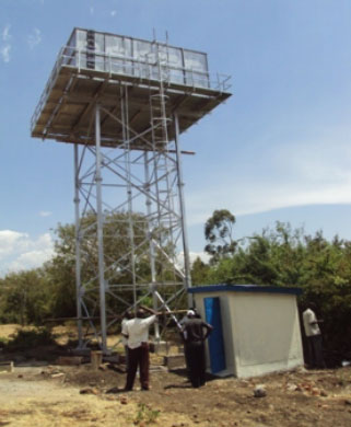 50m3 pressed steel tank on 10m high tower at Jangoye Water project