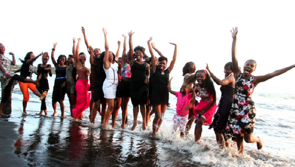 The 2014 Miss Tourism contestants during training at Sori beach, Nyatike Sub-County